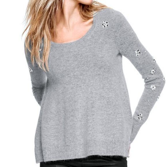 53de2754bb VICTORIA S SECRET Grey Gray Embellished Sweater S.  M 5b872febbaebf629ef622207